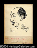 Autographs, Anwar Sadat Signed Original Oscar Berger Sketch