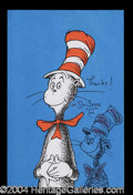 Autographs, Dr. Seuss Signed Color Cat In The Hat Sketch