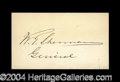 Autographs, William T. Sherman Choice Ink Signature