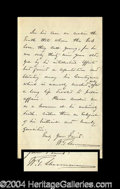 Autographs, William T. Sherman Rare Handwritten Letter Signed