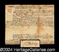 Autographs, William Shirley Colonial Governor Signed Document