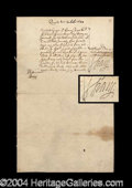Autographs, Sir Henry Vane Colonial Gov. Signed Document c. 1647!