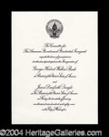 Autographs, George Bush Official Presidential Inauguration