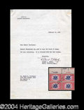 Autographs, Dwight Eisenhower Signed Stamp Block