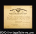 Autographs, Warren G. Harding Impressive Signed Document as President