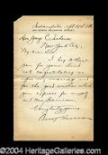 Autographs, Benjamin Harrison Early Letter Signed