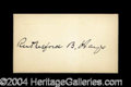 Autographs, Rutherford B. Hayes Rare Full Ink Signature