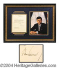 Autographs, John F. Kennedy Signed White House Letter Framed Display