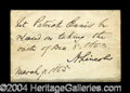 Autographs, Abraham Lincoln Signed Endorsement As President