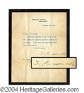 Autographs, Theodore Roosevelt Signed Letter as President