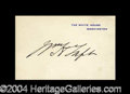 Autographs, William & Helen Taft Signed White House Cards