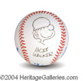 Autographs, Mort Walker Signed Baseball w/ Sketch