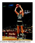 Autographs, Larry Bird Beautiful Signed Canvas Print