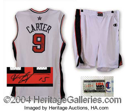 the latest 7d982 9f955 Vince Carter Signed Official Game Issued Olympic Jersey ...