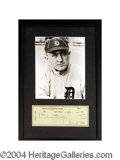 Autographs, Ty Cobb Beautiful Framed Signed Bank Check