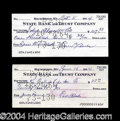 Autographs, Earle Combs Rare Signed Bank Check Lot