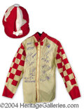 Autographs, 2002 Santa Anita Jockey Colony Signed Race Worn Silk