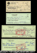 Autographs, Sporting Greats Signed Check Lot