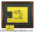 Autographs, Tiger Woods Framed Signed Masters Flag PSA//DNA