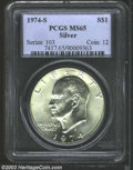 Eisenhower Dollars: , 1974-S Silver MS65 PCGS. ...