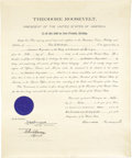Autographs:U.S. Presidents, Theodore Roosevelt Commission Signed...