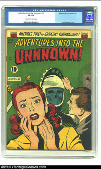 Adventures Into the Unknown #35 (ACG, 1952) CGC FN 6.0 Cream to off-white pages. Ogden Whitney cover. Overstreet 2003 FN...