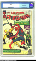 Silver Age (1956-1969):Superhero, Amazing Spider-Man #16 (Marvel, 1964) CGC VF- 7.5 Cream to off-white pages. First Daredevil crossover; Steve Ditko cover and...