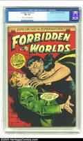 Golden Age (1938-1955):Horror, Forbidden Worlds #15 (ACG, 1953) CGC FN+ 6.5 Light tan to off-whitepages. Overstreet 2003 FN 6.0 value = $66. From the co...