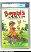 Golden Age (1938-1955):Cartoon Character, Four Color #30 -- Bambi's Children (Dell, 1943) CGC VF+ 8.5 Cream to off-white pages. Walt Disney; Bambi's Children; adapted...