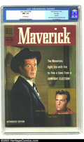 Silver Age (1956-1969):Miscellaneous, Four Color #1005 (Maverick) File Copy (Dell, 1959) CGC NM+ 9.6 Off-white pages. Maverick; James Garner and Jack Kelly photo ...