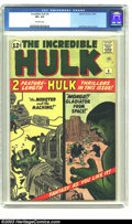 Silver Age (1956-1969):Superhero, The Incredible Hulk #4 (Marvel, 1962) CGC VF+ 8.5 Off-white pages. Brief origin retold; Jack Kirby cover and art. Overstreet...