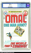 Bronze Age (1970-1979):Superhero, Omac #1 (DC, 1974) CGC NM+ 9.6 Off-white to white pages. Origin Omac; Jack Kirby cover and art. Overstreet 2003 NM 9.4 value...