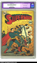 "Golden Age (1938-1955):Superhero, Superman #5 (DC, 1940) CGC Apparent GD/VG 3.0 Slight (P) Slightly brittle pages. CGC notes: ""Restoration includes: tear seal..."