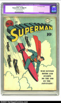 """Golden Age (1938-1955):Superhero, Superman #18 (DC, 1942) CGC Apparent FN+ 6.5 Slight (A) Cream to off-white pages. CGC notes: """"Restoration includes: glue at ..."""