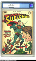"Golden Age (1938-1955):Superhero, Superman #44 (DC, 1947) CGC VG+ 4.5 Off-white to white pages. CGC notes: ""8"" tear on 22nd page, top staple removed"". Superma..."