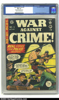 "Golden Age (1938-1955):Crime, War Against Crime #9 (EC, 1949) CGC FN- 5.5 Cream to off-white pages. CGC notes: ""slightly rusted staples, stains paper"". Jo..."