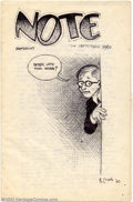 "Original Comic Art:Sketches, Robert Crumb - Original Art ""Note"" 11/24/60. One of a series of handwritten/illustrated letters Crumb wrote in his youth to ..."