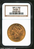 Liberty Double Eagles: , 1883-S MS61 NGC. ...