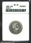 Coins of Hawaii: , 1883 Hawaii Quarter MS60 ANACS. ...