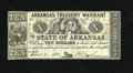 Obsoletes By State:Arkansas, Little Rock, AR- Arkansas Treasury Warrant $10 April 4, 1862 Cr. 54. This piece is nicely preserved and it has a green back....