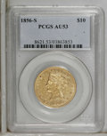 Liberty Eagles: , 1856-S $10 AU53 PCGS. PCGS Population (23/41). NGC Census: (36/85).Mintage: 68,000. Numismedia Wsl. Price for NGC/PCGS coi...