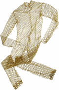 "Movie/TV Memorabilia:Costumes, ""Star Trek"" Gold Fishnet Jumpsuit. A gold fishnet jumpsuit from anunknown episode of the original Star Trek series...."