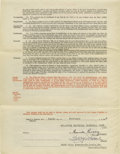 Autographs:Others, 1942 Terry Moore Player's Contract Signed by Rickey & Frick.The star St. Louis Cardinals outfielder agrees to terms that s...