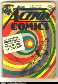 Action Comics #89 (DC, 1945) Condition: VG/FN. Beautiful rainbow cover featuring Superman. Overstreet 2003 VG 4.0 value...