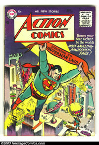 Action Comics #210 (DC, 1955) Condition: FN-. Tough issue from the tail end of the Golden Age. Classic images of Superma...