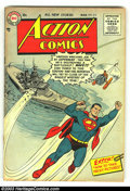 Golden Age (1938-1955):Superhero, Action Comics #214 (DC, 1956) Condition: VG+. Fantastic Superman cover. Cover is detached from bottom staple, otherwise grad...