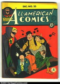 All-American Comics #33 (DC, 1941) Condition: FN-. Beautiful Golden Age book with a Green Lantern cover. Overstreet 2003...