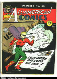 All-American Comics #53 (DC, 1943) Condition: GD/VG. What a fantastic Green Lantern cover on this Golden age beauty! Ove...