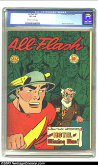 All-Flash #18 (DC, 1945) CGC VF+ 8.5 Off-white to white pages. Martin Nodell cover. Overstreet 2003 VF 8.0 value = $475;...