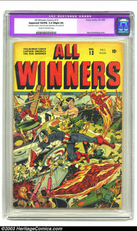 All Winners Comics #13 (Timely, 1944) CGC Apparent VG/FN 5.0 Slight (A) Cream to off-white pages. Great Japanese war cov...